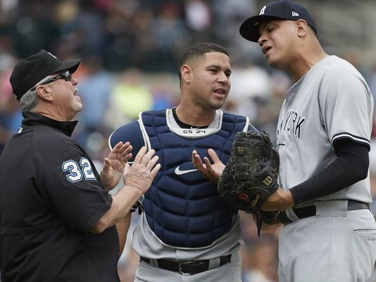 How did Dellin Betances not get suspended for throwing at James McCann's head?