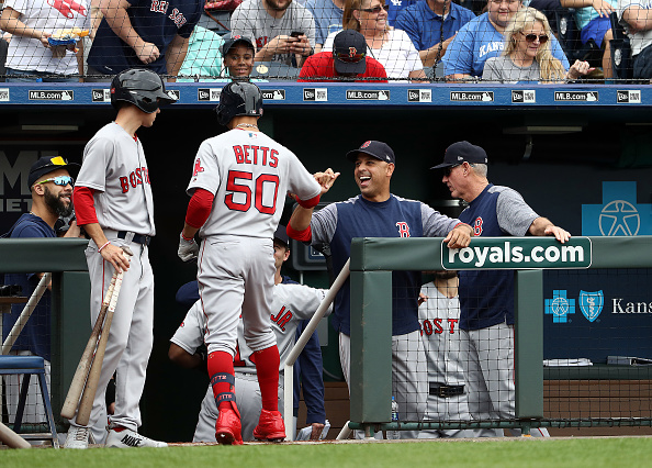 Mookie Betts Homers, Rafael Devers and Christian Vazquez Drive in a Pair of Runs Each as Red Sox Use Seven Different Pitchers in 7-5 Win to Finish off Sweep of Royals