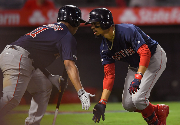 Mookie Betts Opens, Closes Scoring for Red Sox with Pair of Homers in 7-6 Win over Angels in Extras
