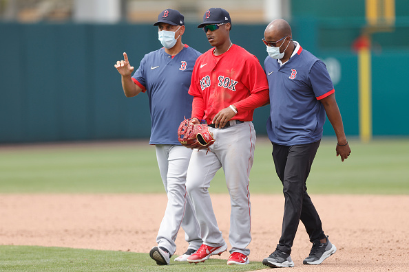 Red Sox top prospect Jeter Downs suffers injury to left side in Sunday's game against Twins, will be evaluated on Monday
