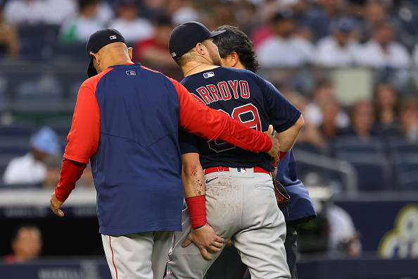 Red Sox' Christian Arroyo forced to exit Sunday's game against Yankees due to left hamstring strain: 'It's most likely an injured list thing,' Alex Corasays