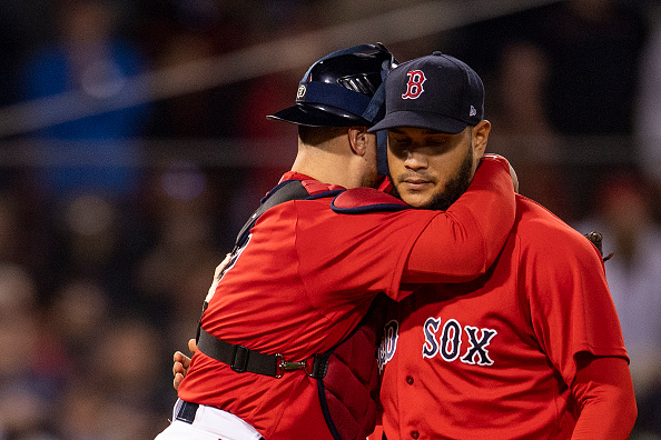 Christian Vázquez catching Eduardo Rodriguez for Red Sox in Game 3 of ALCS vs.Astros