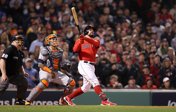 Kyle Schwarber's second-inning grand slam propels Red Sox to 12-3 victory over Astros in Game 3 of ALCS; Eduardo Rodriguez strikes out 7 over 6 solidinnings